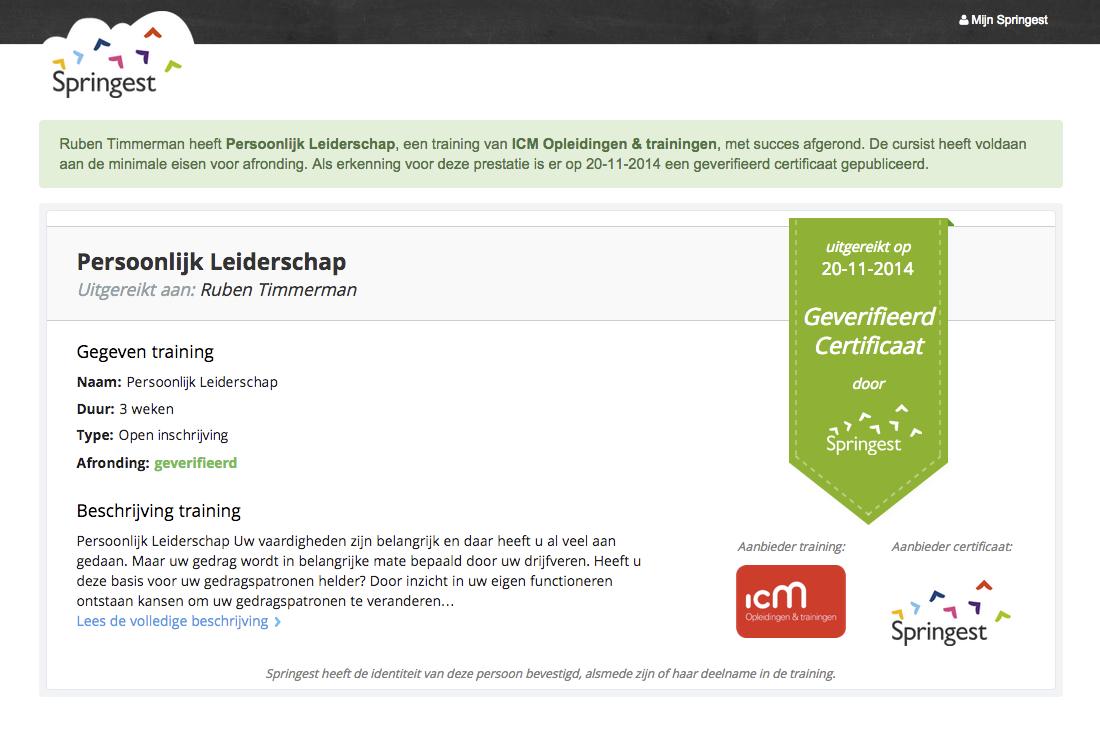 Diploma of certificaat bekijken op Springest