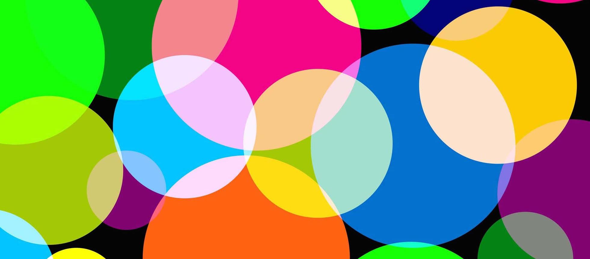 Art abstrait avec des couleurs flashy fait de cercles qui s'netrecroisent